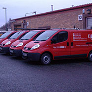 photo of the Electrix Solutions site with 4 of the company vans